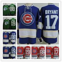 Wholesale Hawk Jerseys - Chicago Blackhawks Jonathan Toews Jersey #17 Kris Bryant #88 Patrick Kane Chicago Black hawks Green St. Patricks Day Hockey Jersey S-3XL
