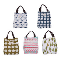 Wholesale Garage Storage Containers - Lunch Box Hedgehog Whale Bear Pattern Portable Insulated Thermal Cooler Food Storage Containers Carry Bag Travel Picnic Handbags