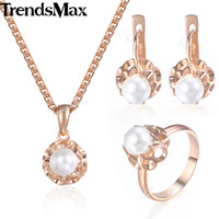 Wholesale 585 Ring - whole saleTrendsmax Pearl Bead Ball Earrings Ring Pendent Necklace Set For Women Rose Gold Filled Simulated 585 Jewelry Sets KGE142