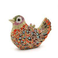 kleine metallvögel großhandel-Dgrain Kristall Luxus Handtaschen Frauen Vogel Kupplung Abendtaschen Metall Kleine Minaudiere Hochzeit Geldbörse Stein Bolsas