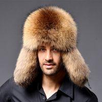 ingrosso berretti russi-Cappellino in pelle di RaccoonLamb da uomo Cappellino da traino di Ushanka per cappelli di pelliccia per cappelli invernali