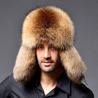 casquettes hommes russes achat en gros de-Casquette en cuir Ushanka Trapper pour les hommes en Russie, le raton laveur russe et le chapeau de fourrure d'hiver