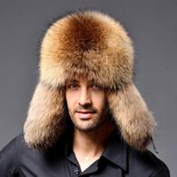 russische männer caps großhandel-Männer Russische WaschbärLamm Leder Kappe Uschanka Trapper Hüte Für Frauen Winter Pelzmütze Ohr Caps Kosaken