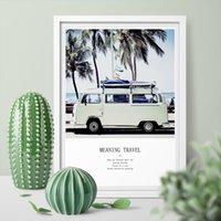 ingrosso manifesti bus-Hd stampato immagine della parete Vw Camper Blue Bus Wall Art Canvas Pittura Palm Tree Art Print Poster Home Decor No Frame