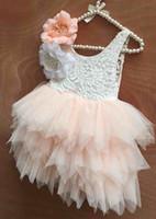 Wholesale Girl Vest Lace Dress Winter - Girls Floral Flower Dress Kids Clothing 2018 Summer Cotton Pleated Dress Fashion Sleeveless Vest Princess Dress ER-861