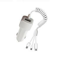 ingrosso fabbrica di mele oem-Caricabatteria da auto OEM 3 in 1 per caricabatteria da auto a più uscite per Android Caricabatterie rapido da auto di tipo C USB