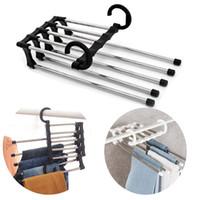 suportes para cabides de metal venda por atacado-Mágico multifunções Cabide de Roupas Calças de Tubo de Aço Inoxidável Roupas Retráteis Cabide de Calças Suporte de Cabide Organizador de Casa