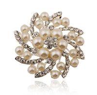 ingrosso modelli perla spilla-Modelli di esplosione Europa e Stati Uniti perla diamante pieno di diamanti spilla rotonda spilla gioielli accessori di fascia alta accessori