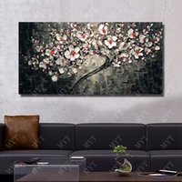 cuchillo de pintura al óleo al por mayor-1 unidades moderna sala de estar decoración de la pared pintura de la flor arte moderno de la lona pintado a mano cuchillo de paleta pintura al óleo sin marco