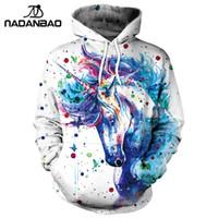 tek boynuzlu baskı hoodie toptan satış-Nadanbao Marka Kış Kadın Kazak Unicorn 3d Baskılı Karikatür Hoodies Kazaklar Renkli Mürekkep Splashi Hoodie Tişörtü