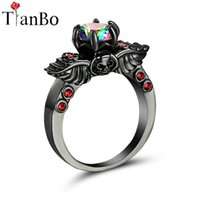 Wholesale Skull Wings Rings - whole saleTianBo Silver & Black & Gold Color Wing Skull Purple   Rainbow Crystal Wedding Engagement Ring for Women As Promise Gift Size8