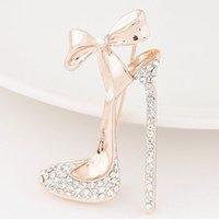 ayakkabı için broşlar toptan satış-Ayakkabı Broş Romantik İmitasyon Kristal Yüksek Topuklu Ayakkabılar Kadınlar için Broşlar Düğün ve Parti Takı Aksesuarları Kadın Broşlar Iğneler