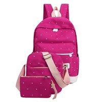 okul çantası çantası toptan satış-Taze Tuval Kadın Sırt Çantası Büyük Kız Öğrenci Kitap Çanta Çanta Laptop Ile 3 adet Set Çanta Yüksek Kalite Bayanlar Okul Yeni