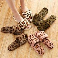 ingrosso flip flop di coniglio-autunno e inverno imitazione coniglio peluche leopardo modello moda pantofole peluche flip-flop pantofole peluche