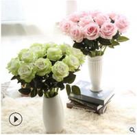 ingrosso camera sposa-Flanella rosa fiori artificiali singolo falso rosa matrimonio romantico sposa bouquet per la casa soggiorno decorazione 13 colori