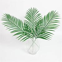 ingrosso lascia pianta artificiale-15pcs plastica artificiale lascia piante verdi falso palma foglia verde per la disposizione dei fiori floreale decorazione di nozze