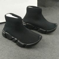 Wholesale Boys Casual Boots - Fashion Baby Kids Socks Boots Children Athletic Shoes Slip-On Casual Flats Shoes Speed Trainer Boy Girl High-Top Running Shoes All Black