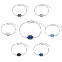 Wholesale rhombus bracelet - 2018 New Cute Oval Quartze Bangles White and Blue green rhombus Stone Resin Druzy Cuff Bangles for Women 320041