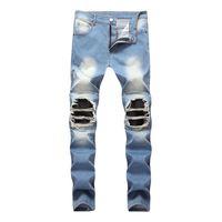 Wholesale zipper knee leggings - High Quality Light Blue Jeans Men Streetwear Men Broken Holes On Knee Demin High Elastic Slim Fit Jeans Leggings