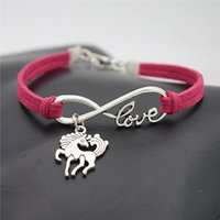 Wholesale Elegant Horse - AFSHOR New Women Cute Unicorn Jewelry Gifts Antique Silver Elegant Unicorn Charm Dancing Horse Pendant Infinity Love Leather Bracelets AF037