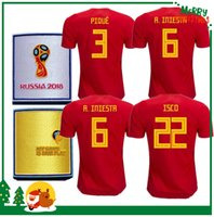 Wholesale Fabregas Spain Jersey - 2018 Spain jersey INIESTA RAMOS home red away FABREGAS COSTA SILVA ISCO VAXI 17 18 national team spain football shirt soccer jersey