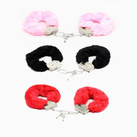 Wholesale sexy hand cuffs - 1Pcs set Hand Cuffs Women Sexy Adult Game Night Party Game Gift Furry Soft Metal Fuzzy Handcuffs Soft Gife Toys