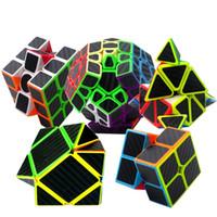 kohlefaserwürfel großhandel-(5er Set) Kohlefaser Aufkleber Magic Cube Puzzle Spielzeug Geschwindigkeit Cube Gehirn Teaser Puzzles mit Kohlefaser Aufkleber