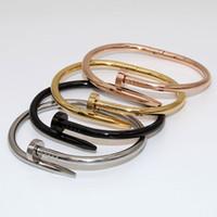 Wholesale new nail trends - 2018 creative fashion exo titanium steel bracelet trend nail open couple bracelet rose gold nail bracelet The new nail screws