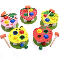 Wholesale baby table toys online - A variety of Fruit knockout table children wooden Beat intelligence toy baby Learning Education Hands on eye coordination toys oy W