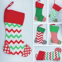 Wholesale chevron socks - Christmas Gifts Bags Xmas Chevron Striple Sock Wrap Bag Ornaments Decorative Drawstring Stocking Bags Decorations HH7-1303
