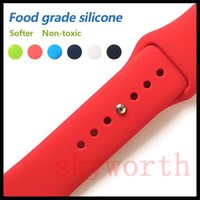 Wholesale smart watches straps resale online - Silicone Sport Band Replacement For Apple Watch Band Wrist Strap With Adapters Accessories mm mm mm mm