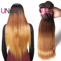 Wholesale Remy Bulk Hair Extensions - UNice Hair T1B 4 27 Ombre Straight Bundles Remy Human Hair Weaves Virgin 4 Bundles Human Hair Extensions Bulk Wholesale Nice Straight