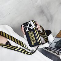 seil armband muster großhandel-Gedruckt Brief Weiche Rückseite Streifenmuster Armband Seil Telefon Shell Flut mit Langen Schlüsselband für iPhone XS Max XR 6 s 8 Plus