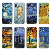 Wholesale Grass Art - TPU clear Phone Case For Apple iPhone 5 5S SE 6 6S 7 8 Plus X Van gogh art painting draw print Soft silicone gel Back cases Cover+protector