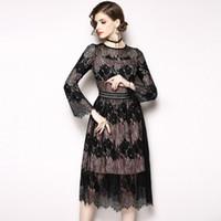 aa4d64f8d83 Vestidos de encaje de las mujeres del banquete de fiesta Vestidos de baile  de fin de curso de la manga elegante de la llamarada Vestido del pequeño  negro de ...