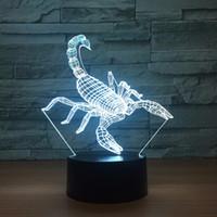 akrep pil toptan satış-Akrep 3D Optik Illusion Lamba Gece Lambası DC 5 V USB Powered Pil Toptan Dropshipping Ücretsiz Denizcilikte