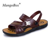Wholesale Sandal Red Wine - Mans Shoes 2018 Casual Comfortable Male Sandals Summer Slip-on Shoes Breathable Wine Red Sandals for Men