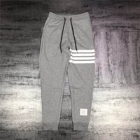 Wholesale hip hop pants for women - 2018 New TB THOM Breathable long pants BROWNE stripe trousers for Men and Women all-match hip-hop high street Cool trousers