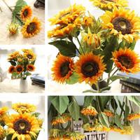 blumenzimmerdekor großhandel-Sonnenblume Künstliche Blume Brautblumen Bouquet Hochzeit Dekorationen Home Room Decor Dekorative Blumen 12 teile / los T2I249