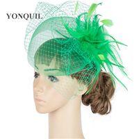 Wholesale crinoline fascinator online - Multiple color crinoline fascinator headwear feather bridal veils race hair accessories millinery wedding hat MYQ044
