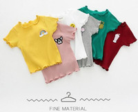 Wholesale girls neck accessories online - NEW candy color girl Kids t shirt Cotton short Sleeve solid color fruit accessory t shirt girl causal summer comfortable shirt