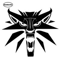 Wholesale Wolf Car Vinyl - HotMeiNi Car Sticker The Witcher Wolf Medallion Personality Car Styling Motorcycle Stickers Black Silver 14*12cm