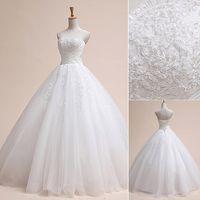 robe de mariée en porcelaine achat en gros de-Mode luxe perles robe de mariée 2017 robe de noiva dentelle mariée plus taille mariée chine robes de mariage robe de bal casamento