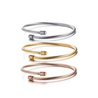 fio de aço 316l venda por atacado-Moda Aço Inoxidável 316L Fio Pulseira Cuff Bracelet Ouro Rosa Banhado A Ouro Conjuntos de Manguito Para As Mulheres