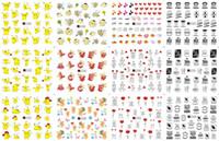 decalques preto amarelo venda por atacado-12 Folhas / Lote Prego A1321-1332 Amarelo Pikachu Carta Preta Nail Art Water Wraps Adesivo Decalque Para (12 PROJETOS EM 1)