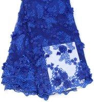 afrikanisches gewebe-spitzenmaterial großhandel-Royal Blue Französisch Spitze Stoff mit Steinen Afrikanische Spitze Stoff Hohe Qualität 2018 Net Spitze Nigerianischen Material Kleid