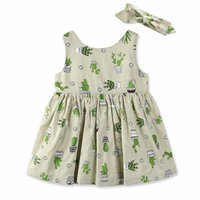 Wholesale Cute Casual Dresses For Kids - Fashion Kids Clothes New Summer Baby Girl Dress Cactus Printed Cotton Sundresses For Casual Girl Dress Cute Summer Dresses