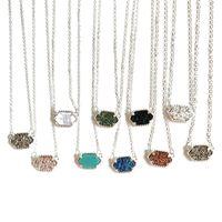 taşlı kolyeler toptan satış-Kadınların Tasarımcı Lüks Takılar Hediye için Moda Druzy kolye 10 renk Geometri Doğal taş kolye Charm Gümüş Kaplama zincirleri