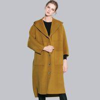 шерстяные пальто высокого качества оптовых-100% двойной сталкиваются длинные шерстяные пальто высокого качества офис леди женщин осень зима шерсть пальто новый твердый рукав летучая мышь свободные