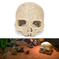 Wholesale fish terrarium online - Resin Skull Aquarium Decoration Terrarium Reptile Fish Tank Ornament